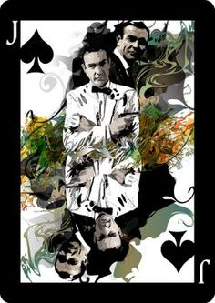 Sean Connery Jack of Clubs Playing Card Design - Playing Card Illustration featuring Sean Connery as the Jack Of Clubs. Part of a series of Movie Star Illustrated Cards created by Melanie Armstrong, . Printable Playing Cards, Playing Cards Art, House Of Cards, Deck Of Cards, Jack Of Spades, Jack Of Hearts, Jokers Wild, Linoleum Block Printing, Card Book