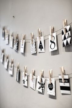 Christmas Advent calendar - DIY with twine, clothespins, and envelopes
