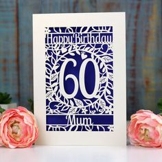 personalised papercut flower birthday card by pogofandango | notonthehighstreet.com 60th Birthday Cards, Flower Birthday Cards, Happy Birthday, Color Card, Colour, Colored Paper, White Envelopes, Card Sizes, Paper Cutting