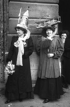 """""""Catherinettes"""" was a traditional French label for girls of twenty-five years old who were still unmarried by the Feast of Saint Catherine (25 November). A special celebration was offered to them on this day, while everyone wished them a fast end to their singlehood. Paris, 1909"""