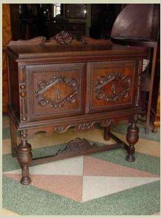 Victorian Revival Solid Oak Server. $499.00 on GoAntiques. Circa 1925. #antique #furniture