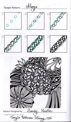 Zentangle. Обучение. Шаблонные странички с сайта TanglePatterns.com. Оригиналы уроков можно найти на вышеуказанном сайте - название паттерна и авторство подписано на картинке.