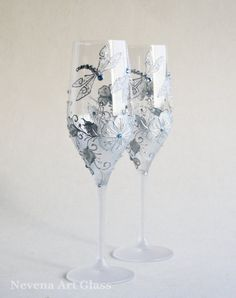 CRYSTAL GLASS, Wedding Glasses, Champagne Flutes, Wine Glasses, Hand Painted DragonFly, Aqua Blue, Set of 2