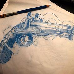 By Zimmo Lu. Toronto based tattoo artist. Instagram: zimmomomo_tattoo#flintlock #pistol for Jason. #tattoo #torontotattoo #pistoltattoo #tattooartist #torontotattooartist #flintlockpistol #toronto #yyz #gun #guntattoo #drawing #sketch #art #illustration #illustrativetattoo #sketch_daily #worldofpencils #arts_help #worldofartists #art_spotlight #art_collective @hydra.tattoo Skull Tattoos, Body Art Tattoos, Sleeve Tattoos, Pistola Tattoo, Tattoo Sketches, Tattoo Drawings, Pistol Drawing, Engine Tattoo, Toronto Tattoo Artists