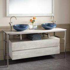 """60"""" Roeding Teak Vessel Sink Vanity - Light Gray"""