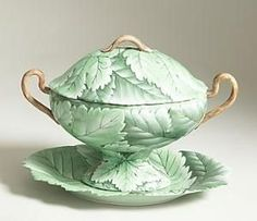 Hand Painted Soup Tureen Italy | Hand Painted Porcelain Lettuce Tureen