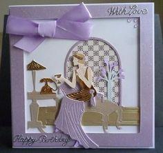 Card made using the new Art Deco collection Kanban Cards, Screen Cards, Art Deco Cards, Tattered Lace Cards, Lace Art, Elizabeth Craft, Art Nouveau Design, My Scrapbook, Scrapbooking