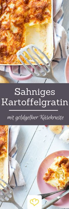 Sahniges Kartoffelgratin mit goldgelber Käsekruste Creamy potato gratin with golden-yellow cheese crust Potatoes and boring? Whether processed into crispy croquettes or delicious dumplin Vegetarian Recipes, Cooking Recipes, Good Food, Yummy Food, Food Inspiration, Food Porn, Food And Drink, Tasty, Favorite Recipes
