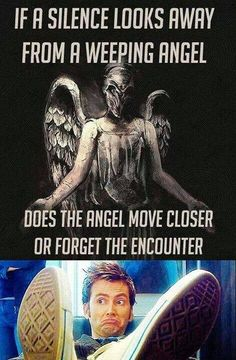 Doctor Who humor.you only understand if your a true whovian - what do you think? I think that angel forgets the silence. The Doctor, Good Doctor, The Silence Doctor Who, Eleventh Doctor, Dr Who, Fandoms Unite, Beatles, Sherlock, Bubbline