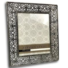 Details about  Picture Frame Photo Silver Open Work Vintage Look Metal Floral Scroll 8 by 10