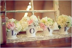 LOVE - Anthropologie mugs - fill with flowers or succulents for sweetheart table or placecard table?