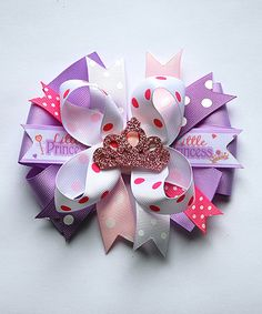 andJane Pink & Purple Little Princess Layered Bow Clip | zulily