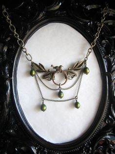 Spring Sparrow Green Pearls upon Antique Gold by CrimsonPresence, $30.00