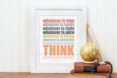 Christian Wall Art, Philippians 4:8, Classroom Rules Poster, Teacher Gift, Homeschool Rules Decor, Think Poster, Homeschool Scripture Print - pinned by pin4etsy.com