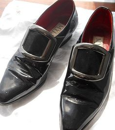Vintage Black Patent Leather Buckle Shoes for Girl or Woman