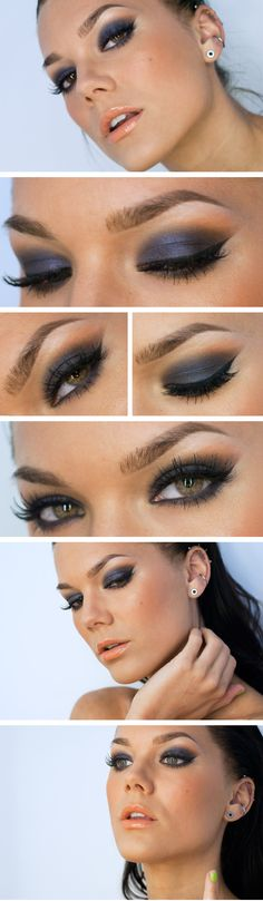 "Today's Look - ""Cupid"" -Linda Hallberg (a very sophisticated smokey eye in its simplicity, a royal blue, gray, and a hint of peach. Really brings out hazel/ brown eyes)03/20/13"