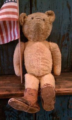 I love his shoes & Flag !!! Antique Teddy Bear
