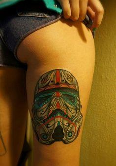 Storm trooper sugar skull! I want this tattoo!