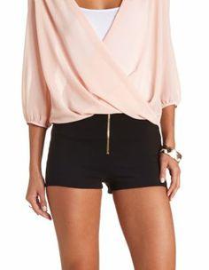 zip-up high-waisted shorts