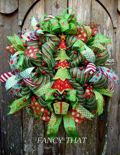 Whimsical Christmas Tree wreath by FancyThatDecor on Etsy Christmas Mesh Wreaths, Christmas Swags, Christmas Door, Christmas Ideas, Winter Wreaths, Christmas Things, Wreath Crafts, Diy Wreath, Wreath Ideas