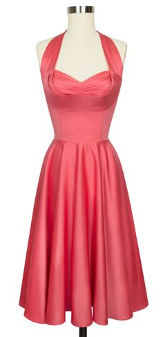 Trashy Diva Lena Dress | Vintage Inspired Bridal Collection | Coral Satin