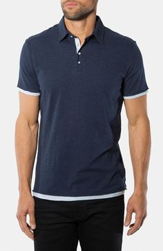$79, Navy Polo: 7 Diamonds Ultimate Polo Oxford Blue Large. Sold by Nordstrom. Click for more info: https://lookastic.com/men/shop_items/148844/redirect