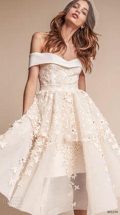 bhldn fall 2017  americana bridal off the shoulder sweetheart neckline full embellishment romantic pretty above knee short wedding dress (emerson) mv  -- BHLDN Freshest Fall 2017 Wedding Looks