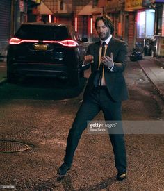 Keanu Reeves filming an action scene for 'John Wick 2' on November 17, 2015 in Chinatown New York City.