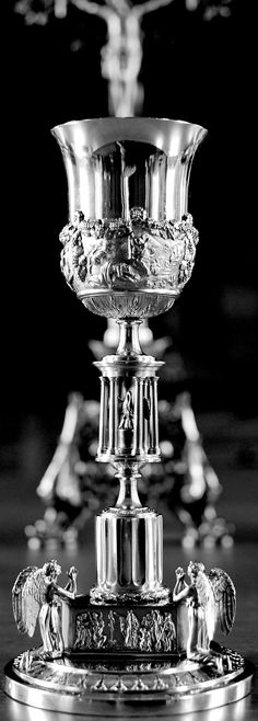 191 year old Chalice.  Pie Pelicane, Jesu Domine, Me immundum munda tuo sanguine: Cujus una stilla salvum facere. Totum mundum quit ab omni scelere. Pelican of mercy, Jesus, Lord and God, Cleanse me, wretched sinner, in Thy Precious Blood...