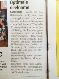 Artikel in Zevenaar Post: Optimale deelname aan Kringconcours De Liemers #DLHG op 18 mei 2014 te #Babberich. Zaterdag 18 januari 2014. via twitter @Gildestjan.