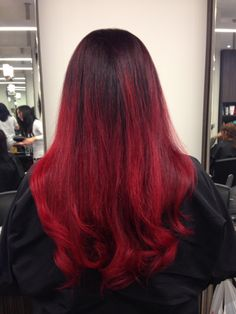 Bright Red Ombre, Color By: Catherine. cool hair, latest hair trend, blow dry, hair stylist, hair color, color trends, Ombre, long hair, styles, Fiorio Hair