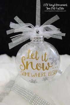 diy let it snow ornament christmas baubles christmas vinyl crafts