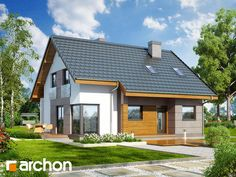Dom w wisteriach 2 (W) Future House, My House, Small House Exteriors, Exterior House Colors, Prefab, Home Fashion, Building A House, House Plans, New Homes