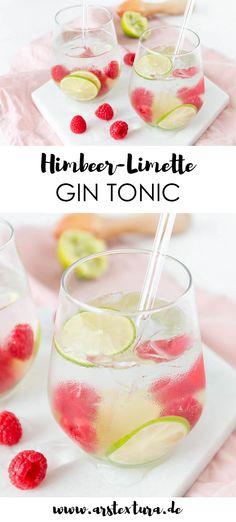 Rezept Himbeer-Limette Gin Tonic - ein perfekter Drink f r den Sommer - Getr nke f r den Sommer - Cocktail Rezept - Longdrink Rezept Refreshing Cocktails, Summer Drinks, Cocktail Drinks, Cocktail Recipes, Alcoholic Drinks, Gin And Soda, Exotic Food, Margarita Recipes, Gin And Tonic