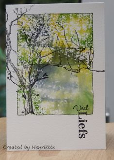 What I like: Color Combo, Block inking, Focal is out of the box, Can hand-draw… Watercolor Trees, Watercolor Cards, Watercolor Landscape, Watercolour Painting, Watercolours, Watercolor Sketchbook, Beautiful Handmade Cards, Beautiful Paintings, Art Tutorials