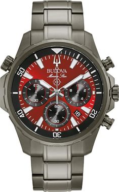 Bulova Watch Marine Star Mens #add-content #allow-discount-yes #basel-20 #bezel-unidirectional #bracelet-strap-steel #brand-bulova #case-depth-11-8mm #case-material-steel #case-width-43mm #chronograph-yes #date-yes #delivery-timescale-call-us #dial-colour-red #fashion #gender-mens #movement-automatic #new-product-yes #official-stockist-for-bulova-watches #packaging-bulova-watch-packaging #sale-item-no #st Stainless Steel Bracelet, Stainless Steel Case, Sport Watches, Watches For Men, Men's Watches, Vintage Bulova Watches, Bulova Mens Watches, Authentic Watches, Watch Sale