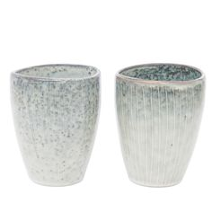 These beautiful slip glazed handle-less mugs in grey blue tones, are ideal for keeping hands warm with hot drinks.  - Due to the unique nature of this item the colour may vary slightly from the photograph