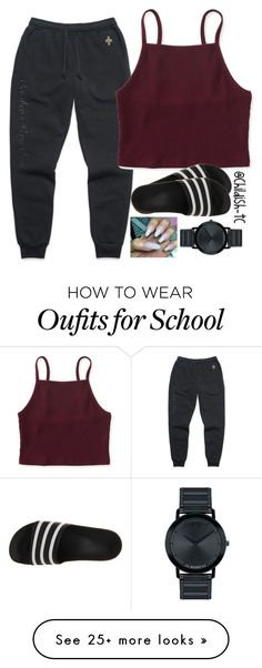 """""""School🙄😒"""" by childish-tc on Polyvore featuring Aéropostale, adidas and Movado"""