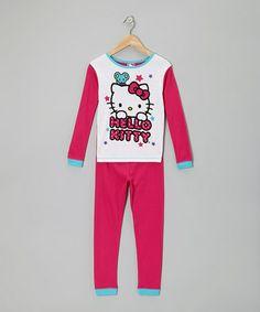 Take a look at this Fuchsia & White Hello Kitty Pajama Set - Girls by Hello Kitty on #zulily today!