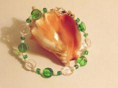 Green & White Bead Bracelet by DesignsBySEA on Etsy, $8.00