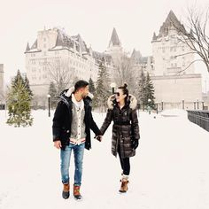 Snowy strolls with my love outside the beautiful @fairmontlaurier this morning ❄️ Thanks to @dametraveler for capturing this snap for us! #fairmont150 #Canada150 #ssworldtravels  via ✨ @padgram ✨(http://dl.padgram.com)