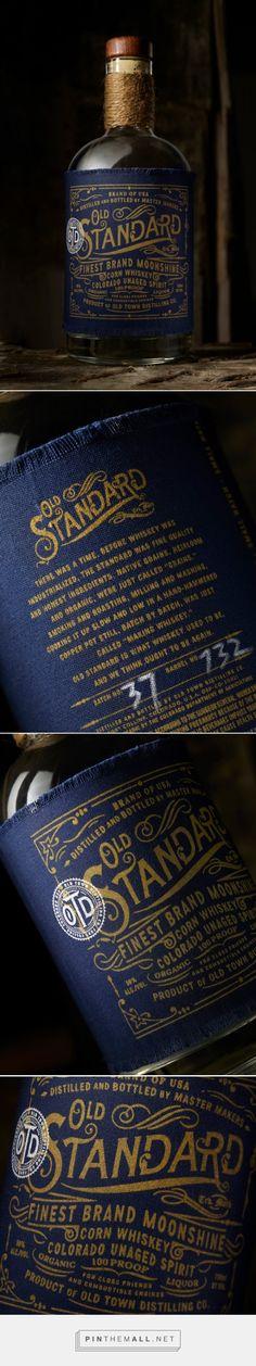 Old Standard Moonshine packaging designed by Chad Michael Studio PD Beverage Packaging, Bottle Packaging, Brand Packaging, Design Packaging, Label Design, Branding Design, Package Design, Identity Branding, Corporate Design