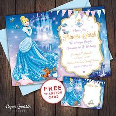 Cinderella Invitation, cinderella party, Princess Invitation, Princess party, 1st Birthday, 2nd, 3rd, 4th, 5th, 6th, Cinderella printable