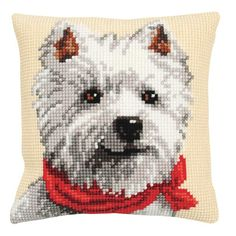 Westie Cross Stitch Pillow Top Kit by Vervaco