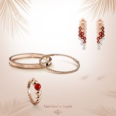 The warm tone of carnelian complements the softness of pink gold. Roundness and delicacy of Perlée and Bouton d'or collections form a gentle harmony in the Van Cleef & Arpels' summer selection.