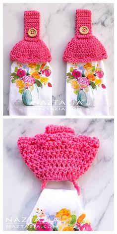 **saved in files** Crochet Towel Holders, Crochet Dish Towels, Crochet Towel Topper, Crochet Kitchen Towels, Crochet Potholders, Crochet Home, Knit Or Crochet, Crochet Gifts, Crochet Hot Pads