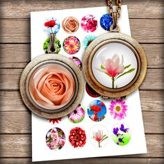 Beautiful Flowers Bottle Cap images 1 inch, 25mm, 1.5 inch Circle images for Jewelry making - Digital Collage Sheet - Instant Download