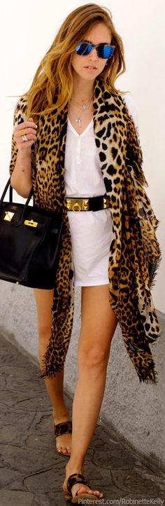 Summer - belted cotton dress + animal print stole or long cardigan + matching animal print sandals