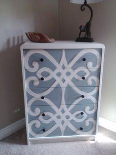 Stenciled White and Blue Dresser $350 - Crystal lake http://furnishly.com/stenciled-white-and-blue-dresser.html