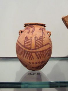 Jar with boats and plants Egypt, Mesaid, tomb no. Naqada II, B. Pottery (Marl clay ware), Height x diameter: x cm x 3 in.) Harvard University-Museum of Fine Arts Expedition MFA Old Egypt, Ancient Egypt, Early Middle Ages, Foto Art, Contemporary Ceramics, Science Art, Museum Of Fine Arts, Oeuvre D'art, Archaeology